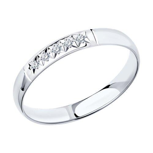 Кольцо из белого золота с бриллиантами (1110168-3) - фото