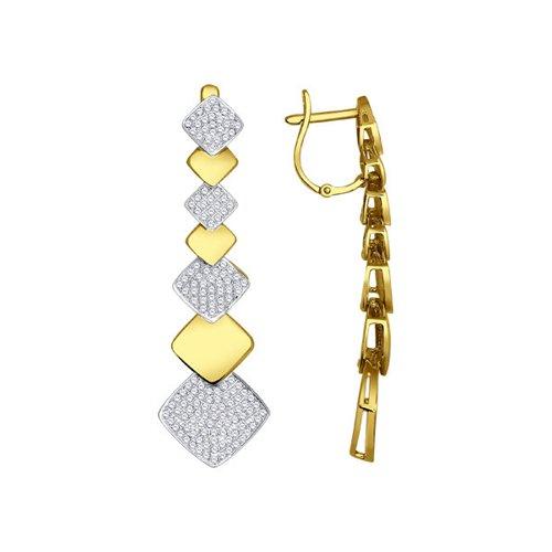 Серьги длинные SOKOLOV из жёлтого золота с бриллиантами московский ювелирный завод серьги с 40 бриллиантами из жёлтого золота e108 1982665cd r17