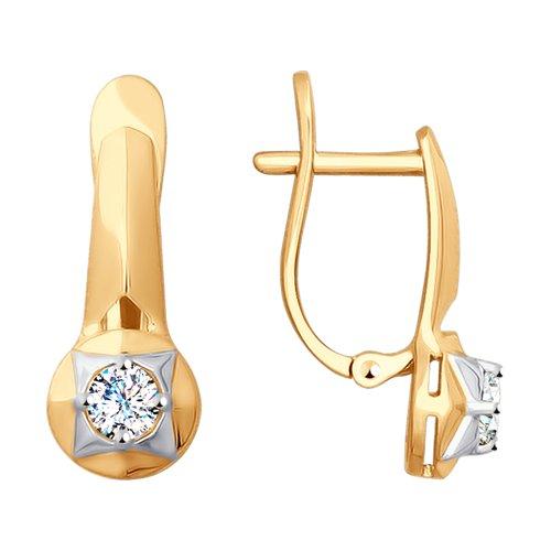Серьги из золота с фианитами (027804) - фото