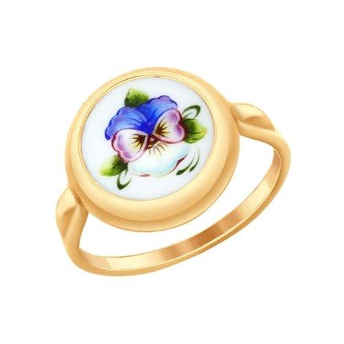 Кольцо из золота с финифтью