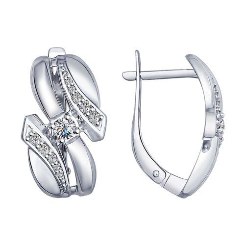Серьги из серебра с фианитами (94022530) - фото
