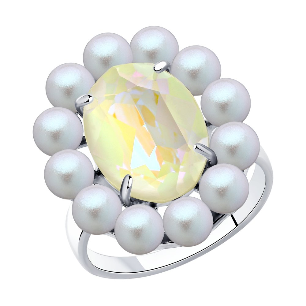 Кольцо SOKOLOV из серебра с жемчугом и кристаллами Swarovski