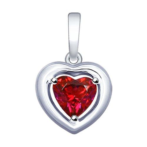 Подвеска из серебра с красным Swarovski Zirconia в виде сердца (89030042) - фото