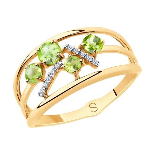Кольцо из золота с хризолитами и  (715900) - фото
