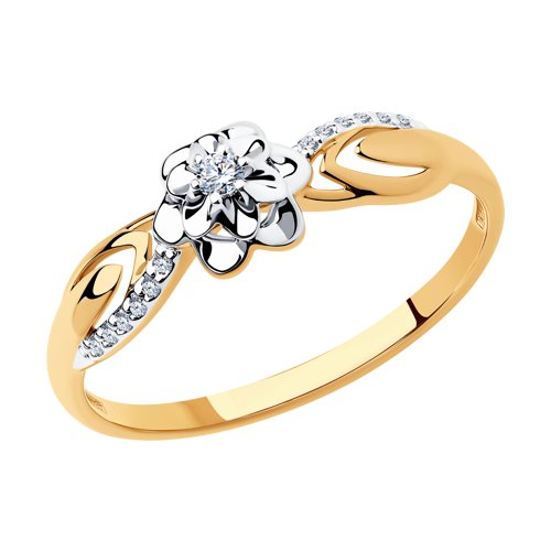 Кольцо из комбинированного золота с бриллиантами (1011402) - фото