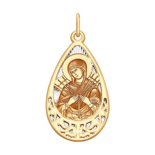 Нательная иконка из золота с ликом Божией Матери Семистрельной (104132) - фото