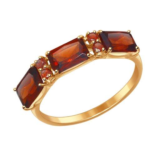 Кольцо из золота с гранатами (715006) - фото