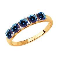 Кольцо из золота с синими Swarovski Zirconia