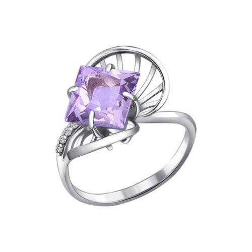 Серебряное кольцо с ромбовидным аметистом и фианитами SOKOLOV
