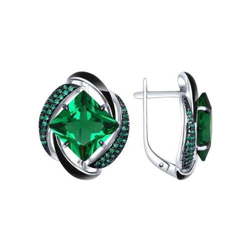 Серьги из серебра с эмалью с зелеными ситаллами и зелеными фианитами