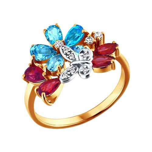 Кольцо с цветами из родолитов и топазов