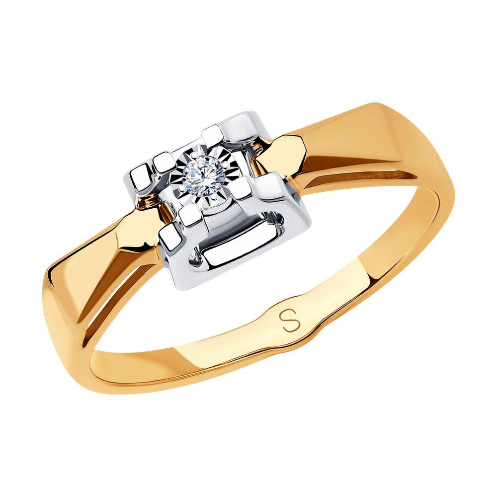 Кольцо SOKOLOV из комбинированного золота с алмазной гранью с бриллиантом