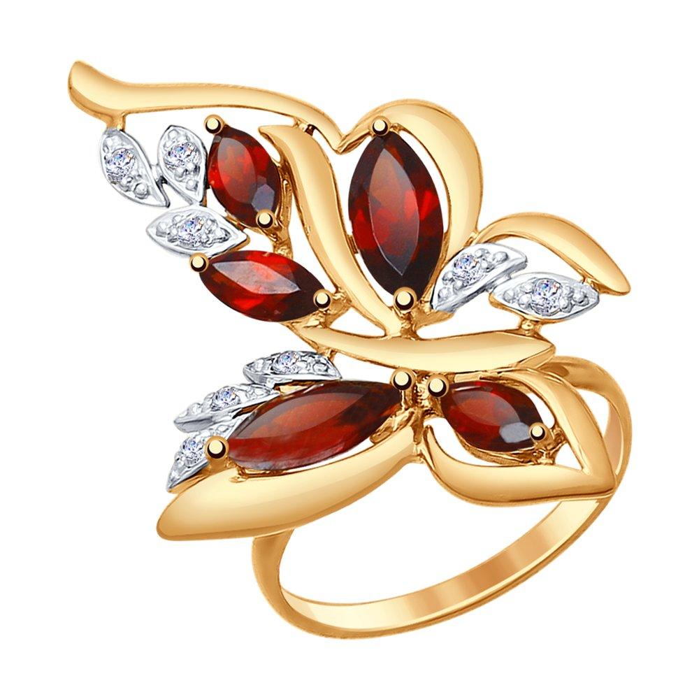 Кольцо «Бабочка»с гранатами и фианитами SOKOLOV кольцо бабочка sokolov