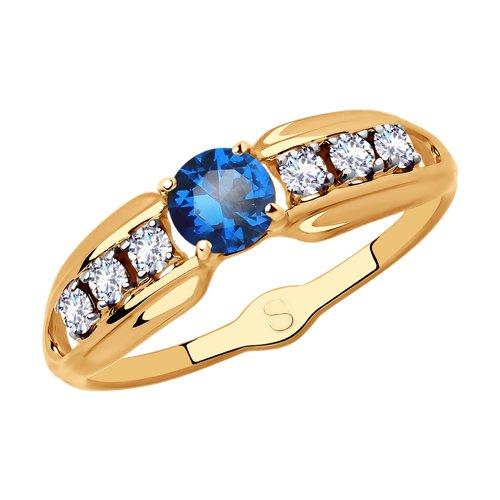 Кольцо из золота с фианитами (017986) - фото