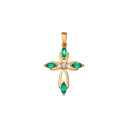 Золотой крестик украшенный изумрудами и бриллиантом