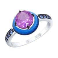 Кольцо из серебра с эмалью с сиреневым ситаллом и синими фианитами