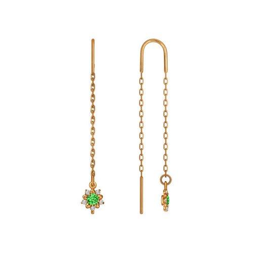 Серьги-цепочки из золота с зелеными фианитами (024806) - фото