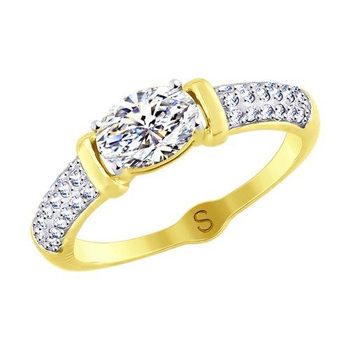 Кольцо из желтого золота со Swarovski Zirconia (81010412-2) - фото