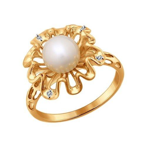 Кольцо SOKOLOV из золота с бриллиантами и жемчугом кольцо с жемчугом и бриллиантами из розового золота valtera 75891