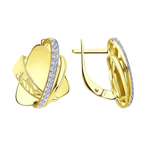 Серьги из желтого золота с фианитами 028818-2 SOKOLOV фото