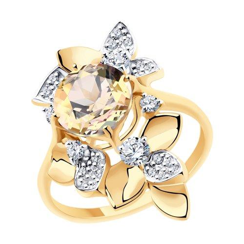 Кольцо из золота с топазом Сваровски и фианитами Сваровски