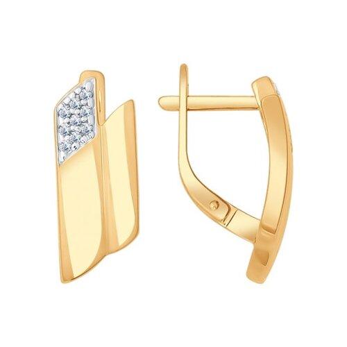 Серьги из золочёного серебра с фианитами (93020663) - фото