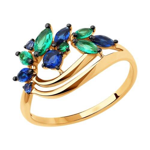 Кольцо из золота с фианитами (018391) - фото