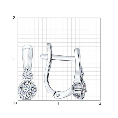 Серьги из серебра с фианитами (89020015) - фото №2