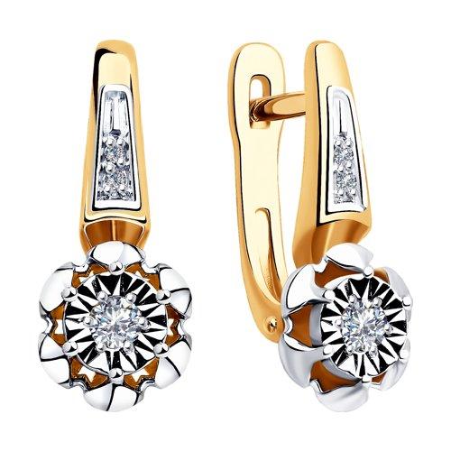 Серьги из комбинированного золота с бриллиантами 1021301 SOKOLOV фото 3