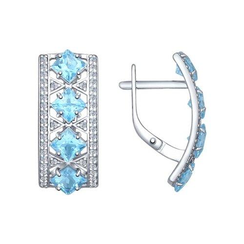 Серьги из серебра с голубыми топазами и фианитами (92021339) - фото