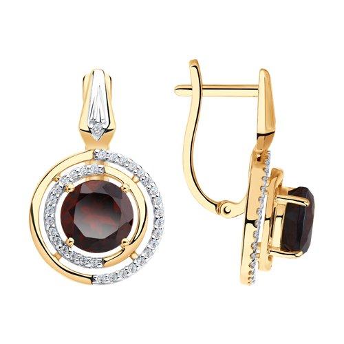 Серьги из золота с гранатами и фианитами (725871) - фото