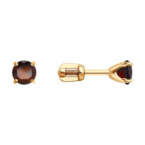 Серьги из золота с гранатами