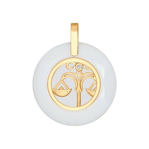 Керамическая подвеска «Знак зодиака Весы» из золота