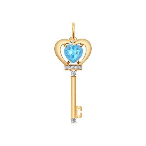 Золотая подвеска «Ключик» с голубым топазом и фианитами
