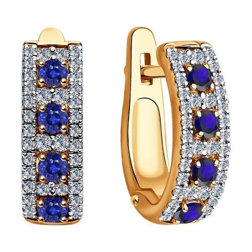 Серьги из золота с бриллиантами и сапфирами (2020930) - фото №2