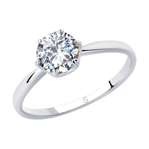 Кольцо из серебра с фианитом (94012844) - фото
