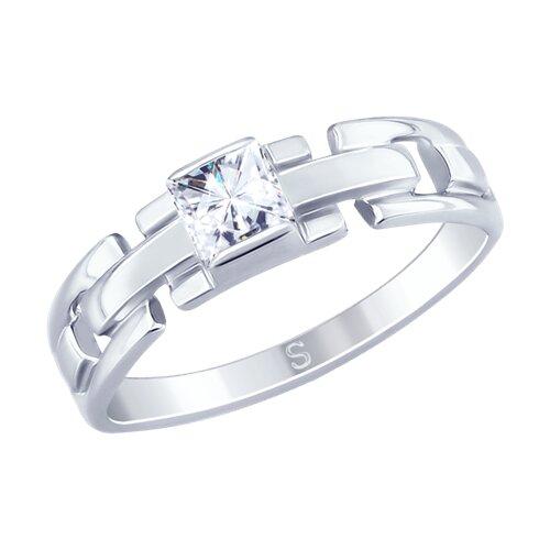 Кольцо из серебра с фианитом (94012641) - фото