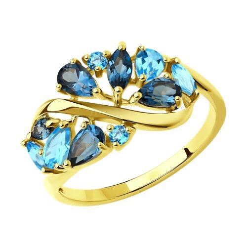 Кольцо из желтого золота с голубыми и синими топазами (714844-2) - фото
