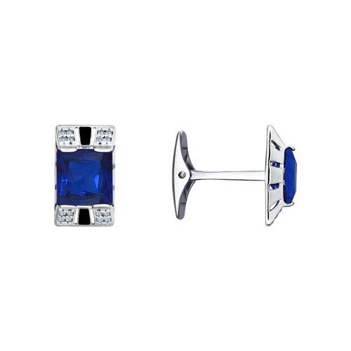 Запонки SOKOLOV из серебра с эмалью и синими фианитами запонки sokolov из серебра с эмалью алмазной гранью карбоном и фианитами