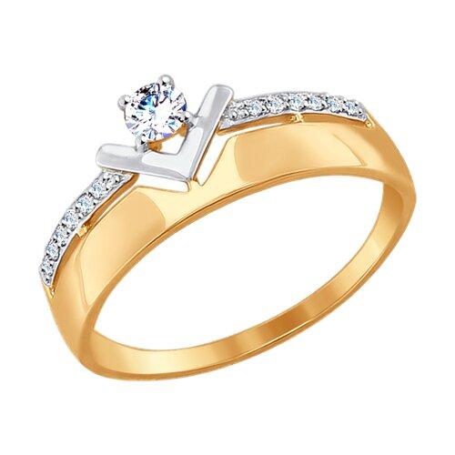 Кольцо из золота с фианитами (017478) - фото