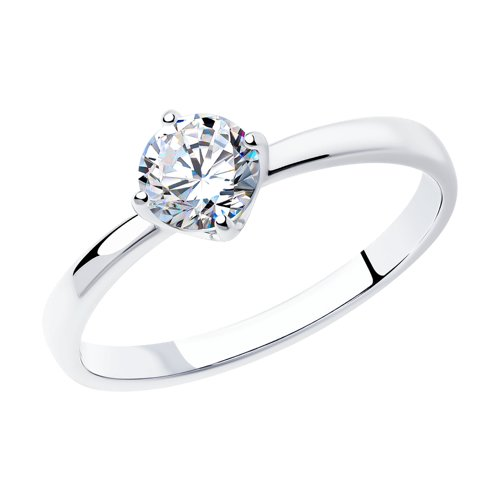 Помолвочное кольцо из серебра с фианитом (94011811) - фото