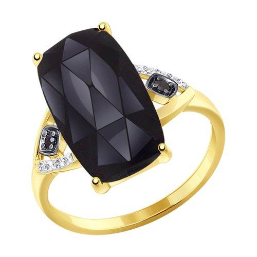 Кольцо из желтого золота с чёрным агатом и фианитами (714293-2) - фото