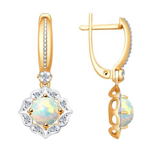 Серьги из золота с бриллиантами и опалами (6024065) - фото