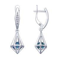 Серьги из серебра с голубыми кристаллами Swarovski и фианитами