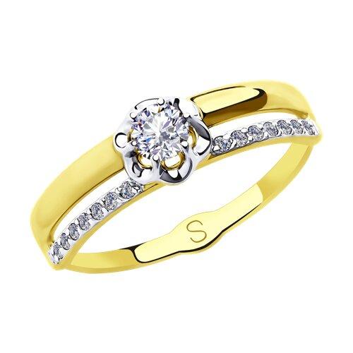 Кольцо из желтого золота с фианитами (018171-2) - фото