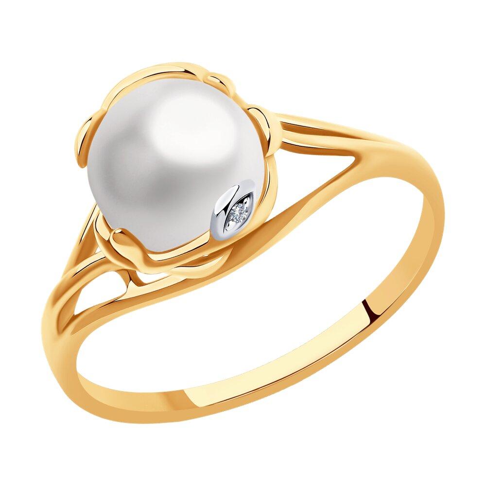 Кольцо SOKOLOV из золота с бриллиантом и жемчугом золотое кольцо с бриллиантом и чёрным жемчугом sokolov