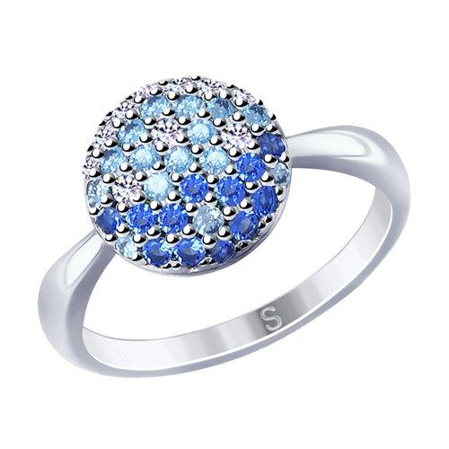 Кольцо из серебра с фианитами (94012531) - фото