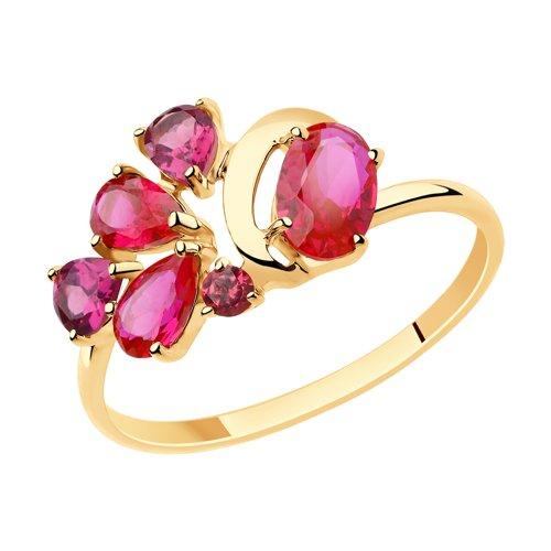 Кольцо из золота с родолитами и красными корунд (синт.) (715509) - фото