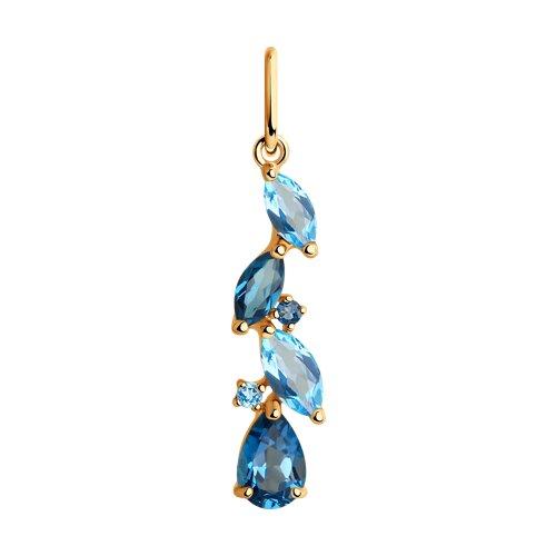 Подвеска из золота с голубыми и синими топазами (731603) - фото