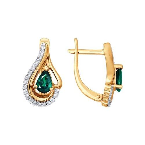 Серьги SOKOLOV из золота с бриллиантами и изумрудами серьги с изумрудами и бриллиантами из розового золота valtera 16107
